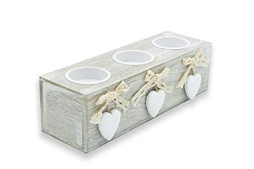 Porta Candele in Legno, Portacandele da Tavolo con Cuore da 3, Soprammobili Shabby Chic, cm 12x6,5 (3 candele)