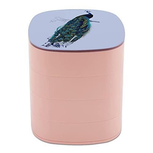 Moda Rotar la caja de joyería casos espejo impresión pintura azul pavo real hermoso, regalo para mujeres, madres, novias, esposas, hijas, compañeros de clase, colegas, hermanas, esposas, niños