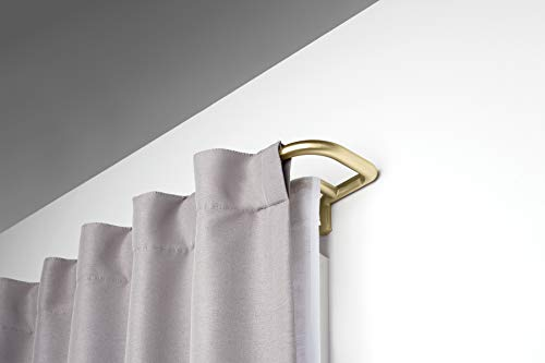 Umbra 1005893-104 Twilight Double Curtain Rod Set – Wrap Around Design is Ideal for Blackout or Room Darkening Panels, 88-144 Inch (224-366cm), Brass