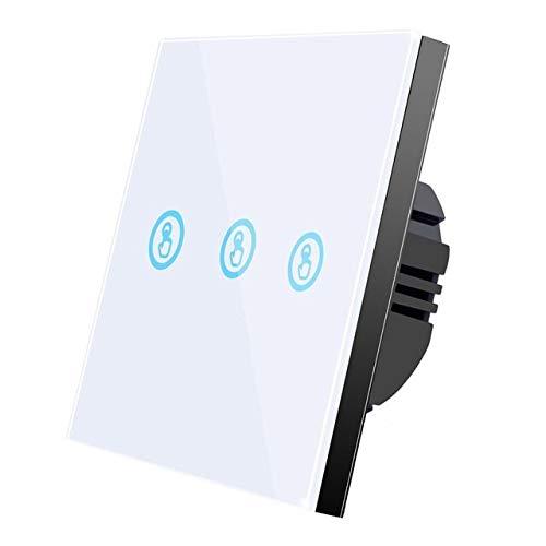 RLJJCS Blanco 3Gang Interruptor táctil inalámbrico Inteligente Débido 433MHz RF Control lejano Panel de Pared de Pantalla de Cristal 110V 220V Lámpara LED