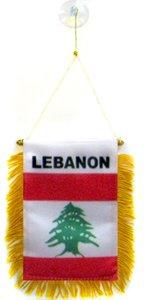 AZ FLAG Wimpel LIBANON 15x10cm - LIBANESISCHE Mini Flagge 10 x 15 cm - Auto Pennant spezielle Auto