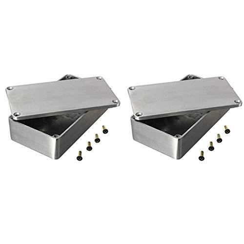 SODIAL 2PZ Custodia nel Alluminio Pressofuso per Elettronica Progetto Box Custodia nel Strumento Stile Chitarra 1590B Stomp Box nel Alluminio per Parti di Chitarra e Accessori