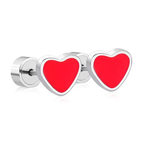 Conjunto de pendientes coreanos de corazón rojo Pendientes de oro de acero inoxidable de moda bonitos para mujer joyería de moda para niña