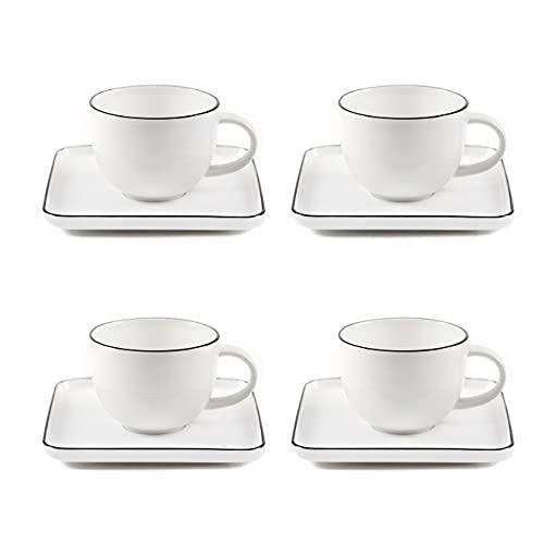 THE CHEF COLLECTION – Set 4 tazas con plato, Colección Pure, Porcelana New Bone China, calidad superior, color blanco, fina línea color negro. 14 cm, 220 ml