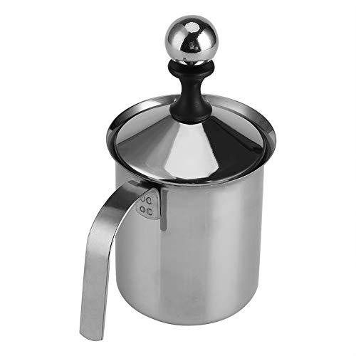 Vobor Milchaufschäumer Double Mesh Kaffee Milchaufschäumerbecher Edelstahl Creamer Foam Cappuccino Maker (800ml)