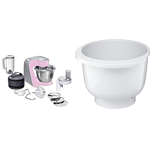 Bosch CreationLine MUM58K20 - Robot de cocina, 1000 W, recipiente de 3.9 litros, color rosa y plateado + MUZ5KR1 - Cuenco de mezclas de plástico para robot de cocina Bosch MUM 5