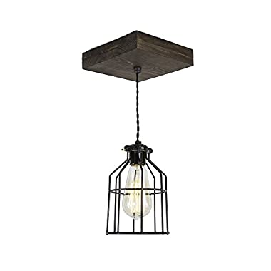 West Ninth Vintage Flushed Wood Pendant Farmhouse Fixture | w/ Metal Cage Light