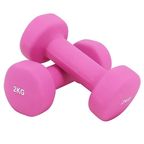 Greenbay - Juego de mancuernas de neopreno para gimnasio en casa, gimnasio, fitness, pilates, 0,5 kg, 1 kg, 1,5 kg, 2 kg, 2,5 kg, 3 kg, 4 kg, 5 kg (par), Rosa-2 x 2 kg.