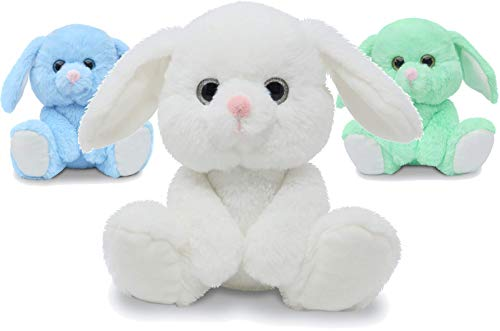 Fluffuns Bunny Stuffed Animals - 3-Pack of Stuffed Bunny Plush Toys in 3 Colors, 9 Inch Bunny Rabbit Plushes (Blue, Green & White)