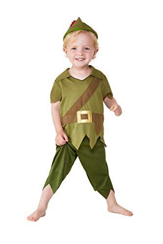 Smiffy's 47696T1 - Disfraz infantil de Robin Hood para niños pequeños, color verde y marrón, edad de 1 a 2 años