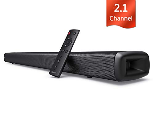 Vinoil Wired and Wireless 2.1 Channel Bluetooth Soundbar with Built-in Subwoofer and Optical AUX Connection Deep Bass Speaker