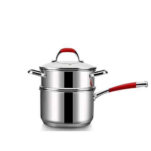 Steamer Milk Pot Mini Household Small Pot 304 Stainless Steel Easy to Stick Pot Small Pot Baby Food Supplement Steamer (Size : L)