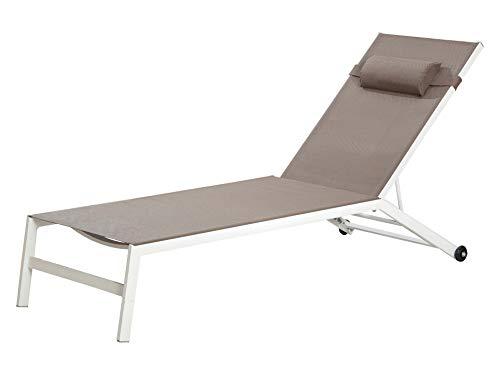 GILDE rolstoel - van aluminium in wit met textiel bekleding in bruin en 2 rollen hoogte 30 cm lengte 193 cm breedte 55 cm tot 150 kg