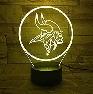 1 paket, für minnesota vikings nacht lampe schlafzimmer usb touch kinder kinder geschenk team logo led nachtlicht american football