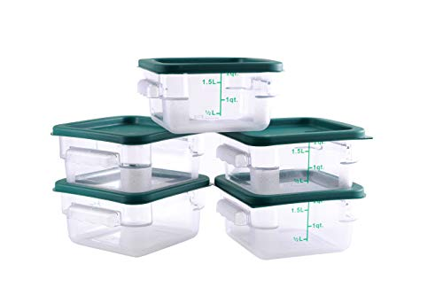 Hakka 2 Qt Commercial Grade Square Food Storage Containers with Lids,Polycarbonate,Clear - Case of 5