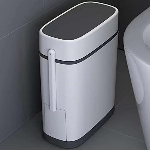 Slim Plastic Trash Can 3.3 Gallon,Trash can with Toilet Brush Holder,12 Liter Double Barrel Waste Basket,Rectangular Press Garbage Container Bin for Bathroom Modern,Bedroom,Kitchen and Office,White
