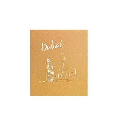 banbie8409 Karte Dreidimensionale Gruß 3D-Papier-Schnitt Dubai Sailboat Stadt-Gebäude Postkarte Grußkarte Geburtstags-Karte