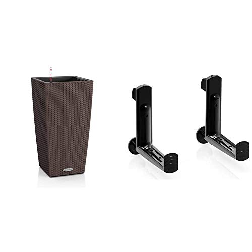 Lechuza Cubico Cottage 30, Vaso in Resina per Piante, Set Completo CAFFE' & Accessorio Vaso Supporti per Balconera 50 e 80 NERO
