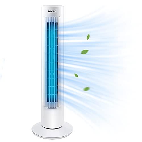 EXTRASTAR Ventilatore a torre, 3 livelli di velocità, potenza 50 Watt, funzione girevole attivabile, bianco