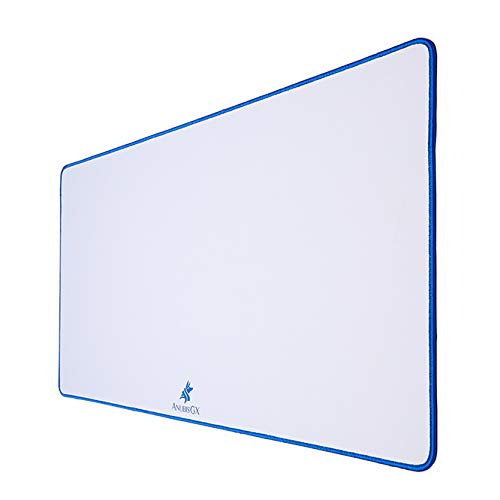 AnubisGX (39 Color/Size Options) Gaming Mouse Pad (XL: 36x18), White Pad with Blue Stitching. Best Premium Waterproof Non RGB Computer Gaming XL Desk Pad Mat, Large Non-Slip Gamer Mousepad