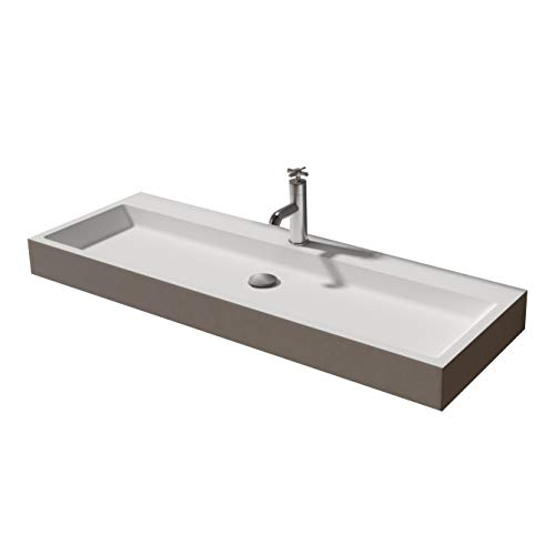 Te plaatsen of aan de muur te bevestigen waskom PB2145 van massief steen - wit mat - 120 x 50 x 11 cm