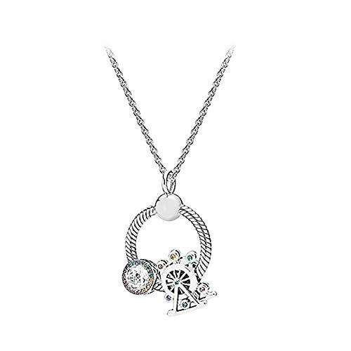 collar S925 Collar O Pan De Plata Esterlina Cuerda Colorida De Noria Arcoíris Decorada Con Lucky Valentine's