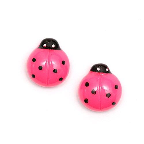 Idin Pendientes de clip - Mariquita de color rosa claro (aprox. 15 x 15 mm)