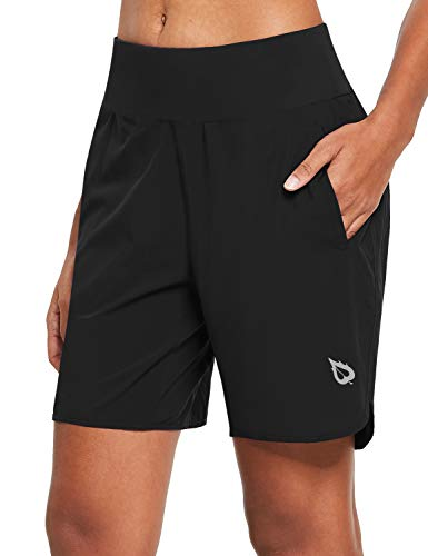 Women's 7' Running Shorts with Liner Quick-Dry Athletic Sport Shorts Back Zipper Pocket (Black, Large)