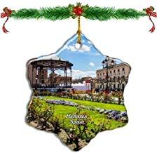 Kysd43Mill Palacio de Arzobispo de España Alcala de Henares Adornos de Navidad de Porcelana con Forma de Estrella de Doble Cara para árbol de Navidad, Adornos de árbol de Navidad, Regalos para niños