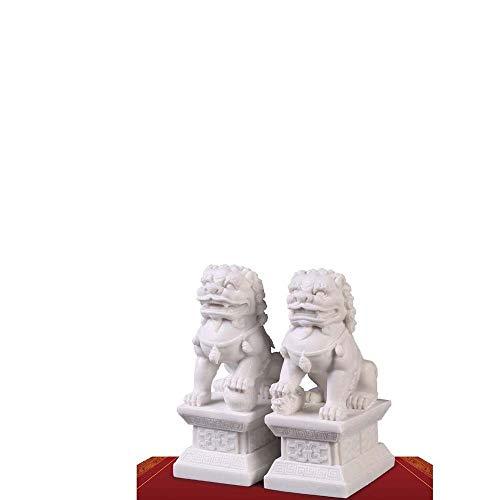 HUIJU Feng Shui Riqueza Porsperidad Par de estatuas de Perros Fu Foo de Beijing Jade de mármol Blanco, alejar la energía maligna, estatuilla de decoración de Feng Shui,S