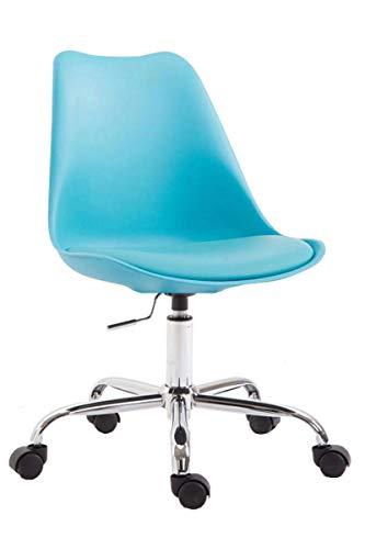 CLP Bürostuhl Toulouse I Schreibtischstuhl Mit Laufrollen I Drehstuhl Mit Metallgestell Und Sitzschale Aus Kunststoff, Farbe:blau
