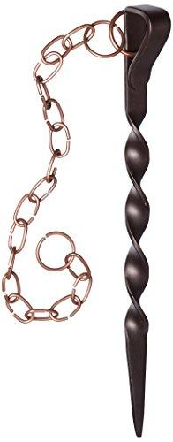 Monarch Rain Chains 15006, Brown/Copper Powder Coated Iron Rain Chain Anchoring Stake, Bro