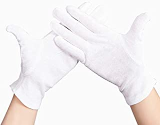 12pairs White 100% Cotton Ceremonial Gloves for Male Female Serving/Waiters/Drivers/Jewelry Gloves (Color : White, Size : L-Thick Cotton)