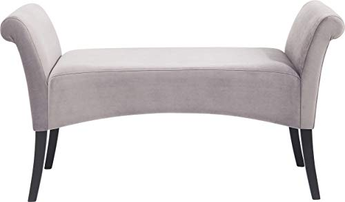 Kare Design Polsterbank Motley Velvet, 2er Sitzbank, Stoffschuhbank aus Buchenholz, Grau-Samt (H/B/T) 61x110x40cm