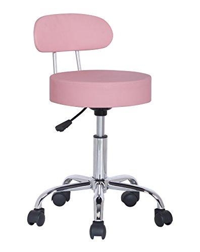 SixBros. Sitzhocker höhenverstellbar, Drehhocker mit Rollen, Hocker aus Kunstleder, verstellbar, Rückenlehne, rosa M-95027X/2132