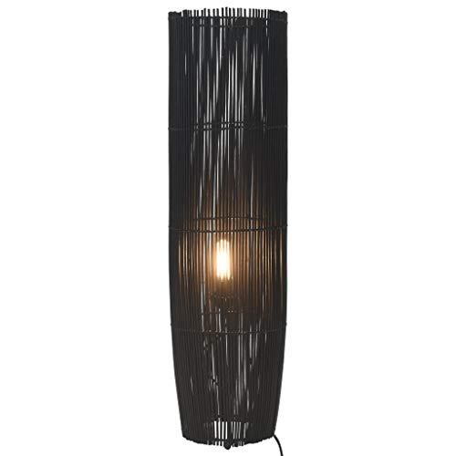 Cikonielf Lámpara de pie de bambú de mimbre Rattan E27 Lámpara de suelo de sauce para la decoración del salón, 18 x 52 cm (bombilla no incluida), color negro