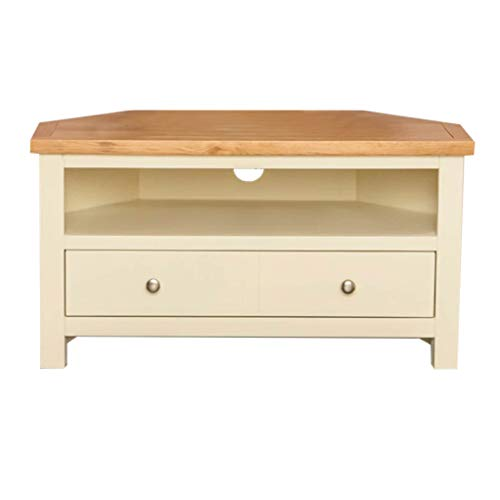 Farrow Cream Corner TV Stand   90 cm Painted TV Unit Country Solid Wood with Oak Television Cabinet Suitable up to 40 inches for Living Room or Bedroom, Fully Assembled