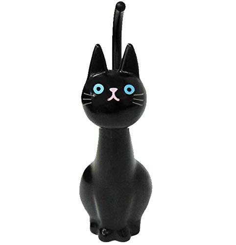 明邦 ねこ の トイレブラシ 人気の かわいい 黒ネコ W11XD14XH38cm (ケース付き) Y399