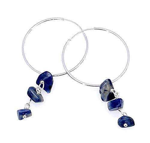 Pendientes creoles de plata 925 y sodalita azul, 30 mm, joyas artesanales con piedras naturales, estilo minimalista, regalo para ella