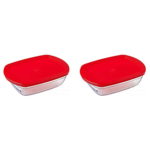 Pyrex O'Cuisine Borosilicate Glass Rectangular Dish with Plastic Lid 0.4 Litre Red (Pack of 2)