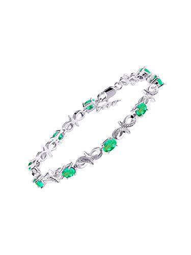 Impresionante pulsera de tenis de esmeralda y diamante en plata de ley – ajustable para adaptarse...