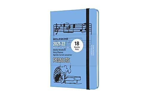 Moleskine - Agenda Settimanale 18 Mesi, Agenda Tascabile 2021/2022, Peanuts Edizione Limitata con Copertina Rigida e Chiusura ad Elastico, Formato Pocket 9 x 14 cm, Colore Blu, 208 Pagine