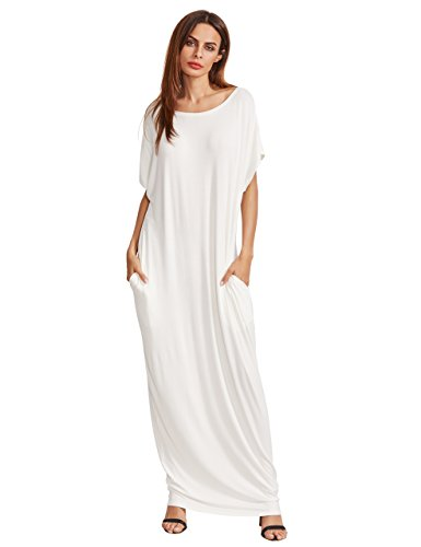 Verdusa Women's Short Sleeve Casual Loose Long Maxi Dress with Pockets Off White XL