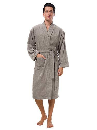 SIORO Cotton Terry Mens Robe Terrycloth Kimono Towel Bathrobe Soft Shower Spa Hotel Hot Tub Soft Bath Robes Calf Length Long Fuzzy Housecoat, Falcon Gray Large