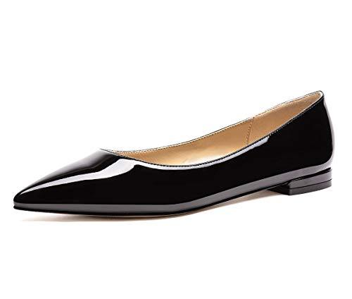 CASTAMERE Damen Low Heels Bequem Mode Ballerinas Spitzen Niedrig Flache Schuhe Schwarz Lackleder Pumps EU 40
