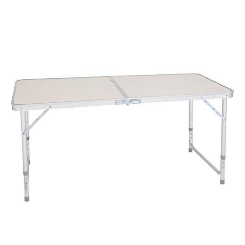 TINGCHAO Mesa de camping plegable universal de altura ajustable, ligera y portátil de aluminio para picnic, playa, al aire libre, interior, 120 x 60 x 70 cm