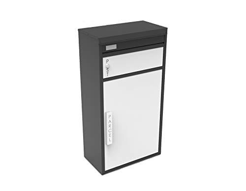 Safepost 65 TIAMAT Paketbriefkasten - mit Paketfach - Standbriefkasten - Exklusivmodell (schwarz/weiß mit 2 Schlüssel)