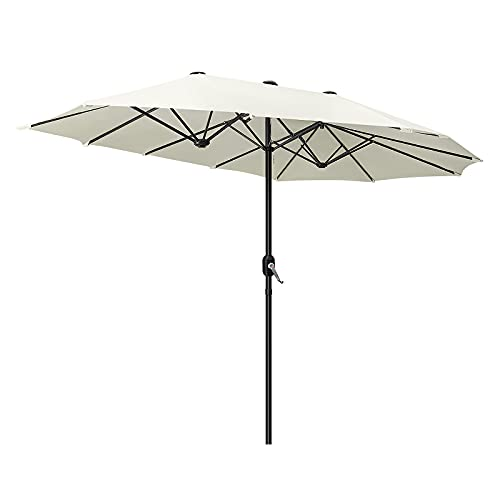 LZQ Ombrellone parasole doppio in alluminio con manovella, ovale, da giardino, da terrazza, protezione solare UV50+, crema, 453 x 263 x 235 cm, beige senza inclinazione