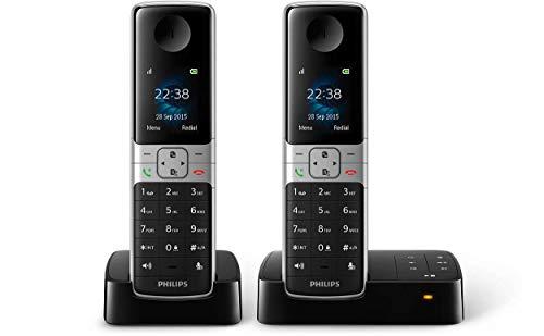 Philips Schnurlostelefon mit Anrufbeantworter D6352B/38 DECT - 2 Mobilteile mit Lautsprecher für einfaches Telefonieren über die Freisprecheinrichtung - Bis zu 18 Stunden Gesprächszeit - Schwarz