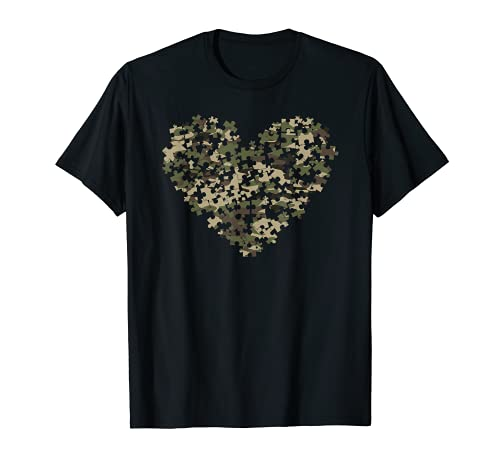 Autismo Conciencia Corazón Puzzle Camoflauge Militar Táctico Camiseta
